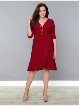Kiyonna Whimsy Wrap Dress in Red